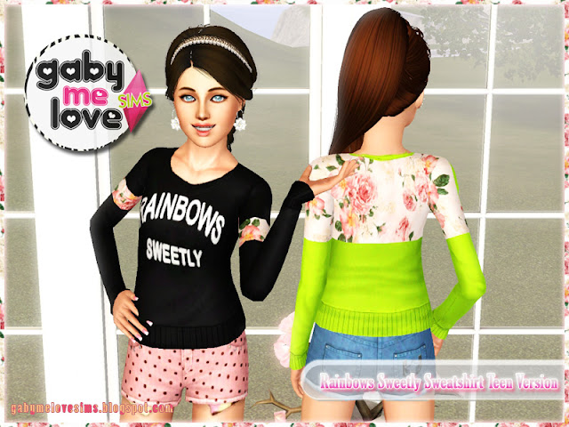 Rainbows Sweetly Sweatshirt Teen Version ~ Asian Fashion, Sims 3 - Gabymelove Sims