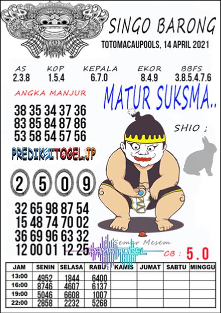 Syair Top Singo Barong Toto Macau Rabu 14 April 2021