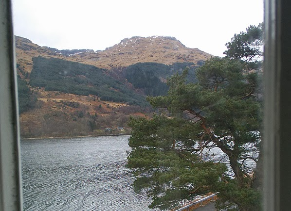 View through window of the hotel in Arrochar
