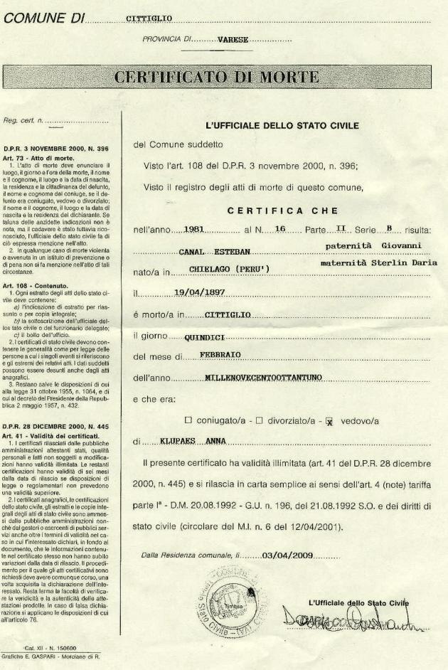 Certificado de defunción de Esteban Canal