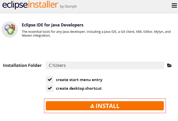 Eclipse IDE installer for java developers