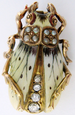 Antique Art Nouveau pearl, enamel, and diamond beetle pin, circa 1900.