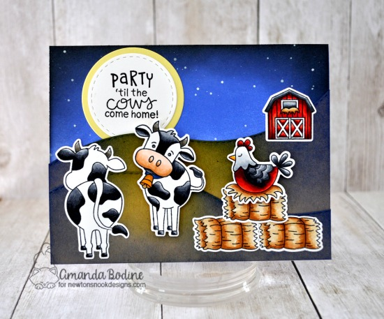 Cow Card by Amanda Bodine | Moo and Cluck Stamp Sets, Land Borders Die Set and Frames Square Die Set by Newton's Nook Designs #newtonsnook #handmade