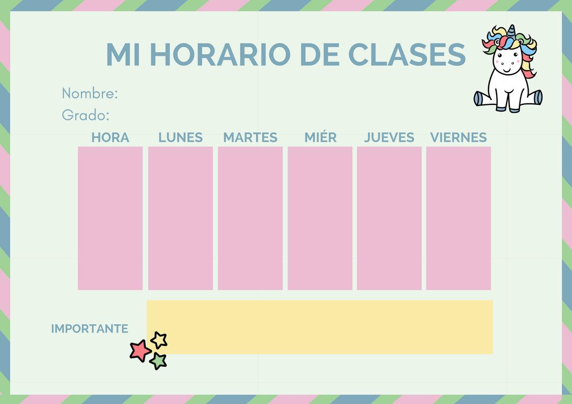 Zapatito Cochinito : Horario de clase Unicornio