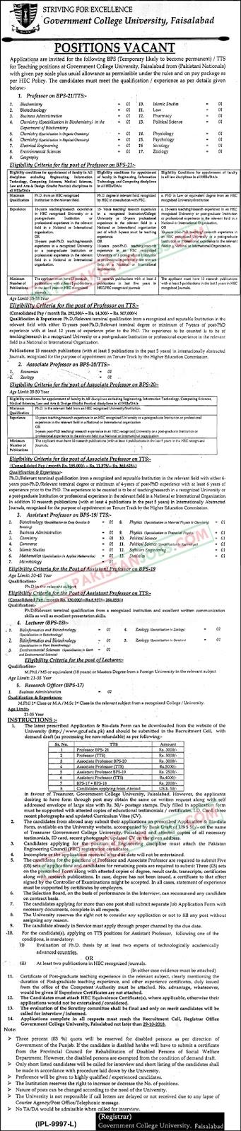 Latest Vacancies Announced in gcuf.edu.pk Govt College University Faisalabad GCUF - 11 October 2018 - Naya Pakistan