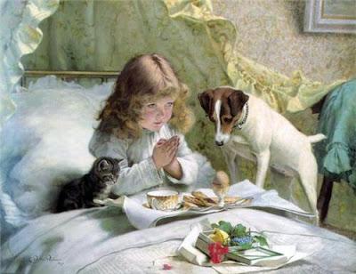 Девочка молится в кровати с собакой и котенком картина Charles Burton Barber