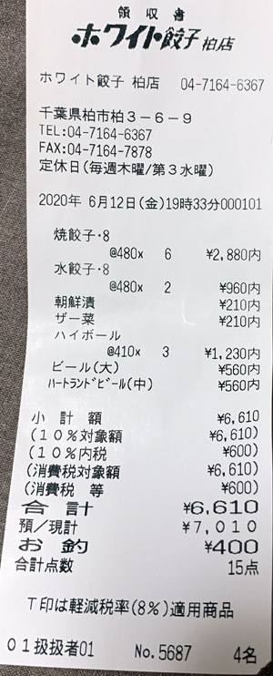 ホワイト餃子 柏店 2020/6/12 飲食のレシート