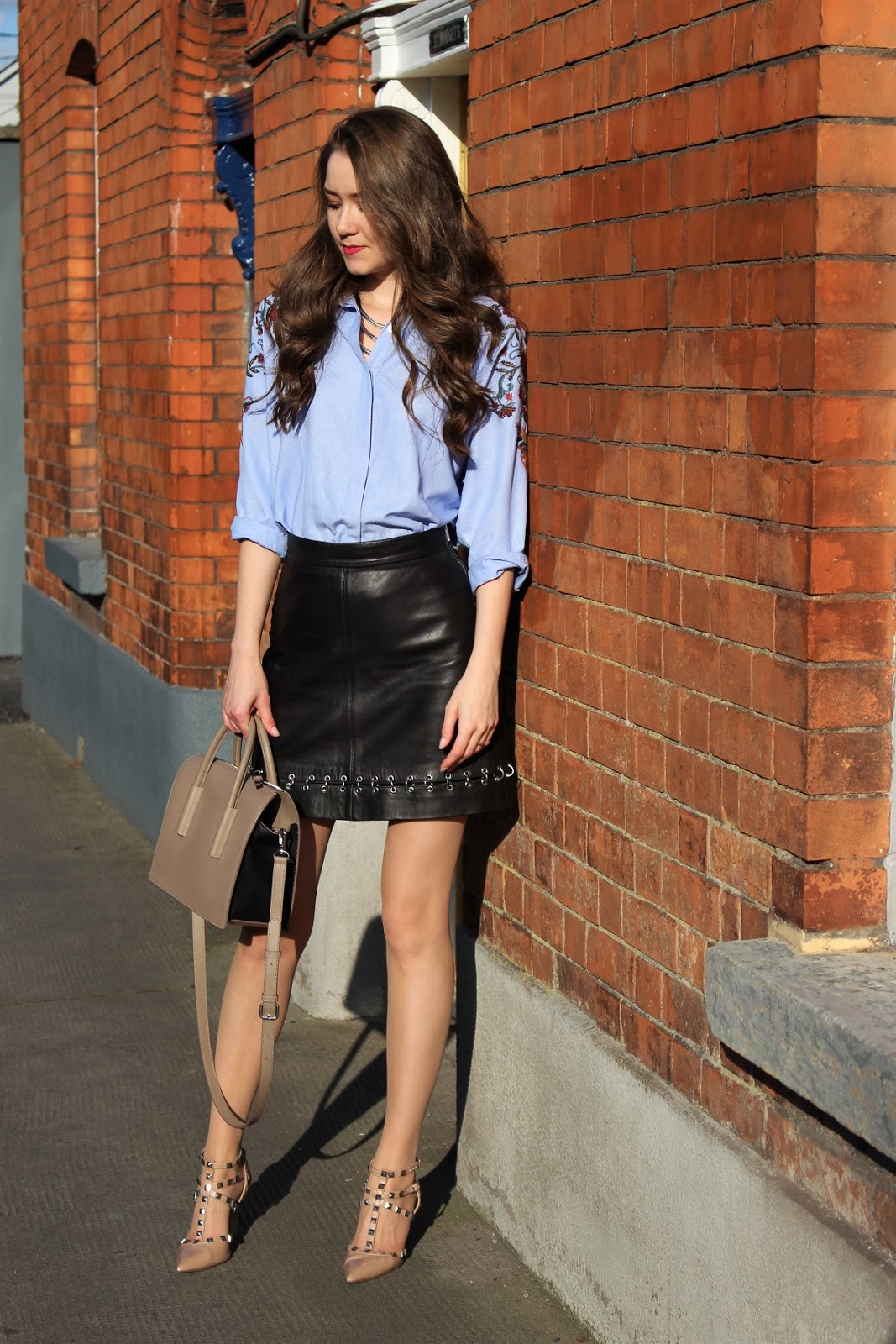 leather skirt ootd