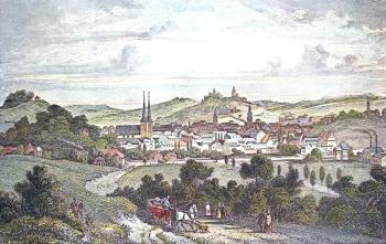 Elberfeld um 1845 - Ansicht auf Elberfeld, Stahlstich