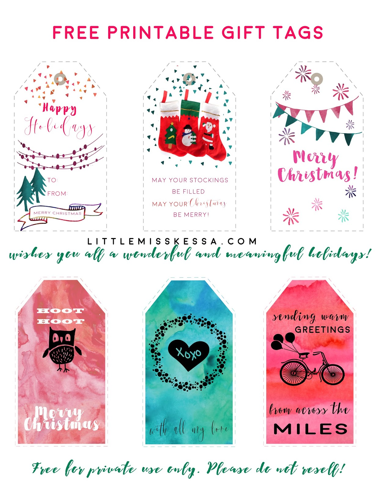 Free Printable Holiday T Tags