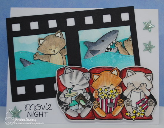 Movie night by Debbie features Newton's Movie Night, Sea Borders, Cloudy Sky, Shark Frenzy, and Purr-maid Newton by Newton's Nook Designs; #newtonsnook
