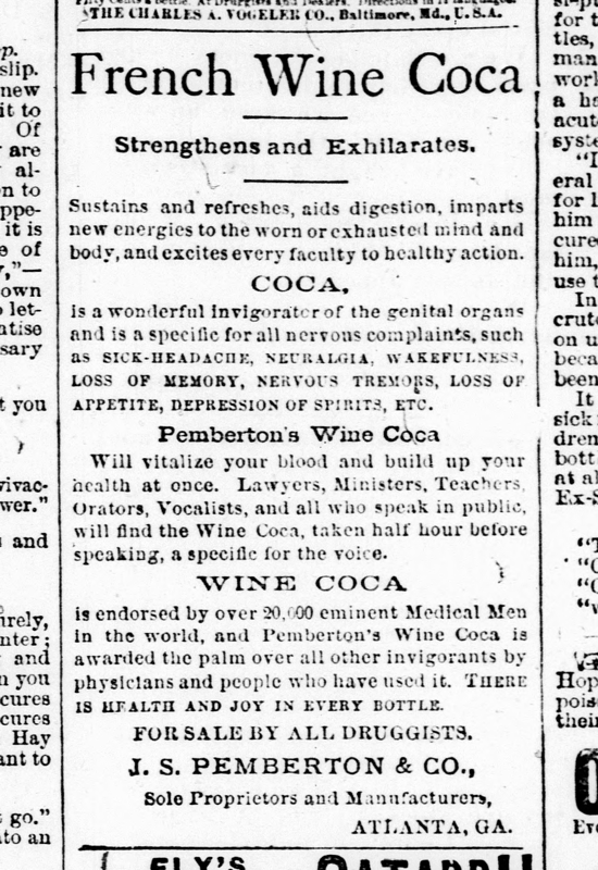 Pemberton's Wine Coca newspaper ad 1885