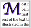 Example of drop cap for letter, M