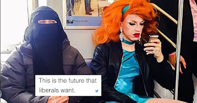 """This is the future that liberals want"": a woman in full-face hijab sitting next to a transgender woman on public transport"