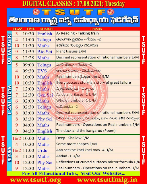 17th August TS SCERT Online Digital classes Schedule and Worksheets Download