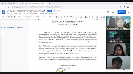 Staff Kementerian Relasi Publik dan Politik Diangkat Menjadi Wakil Presiden Mahasiswa BEM KM PKN STAN 2021