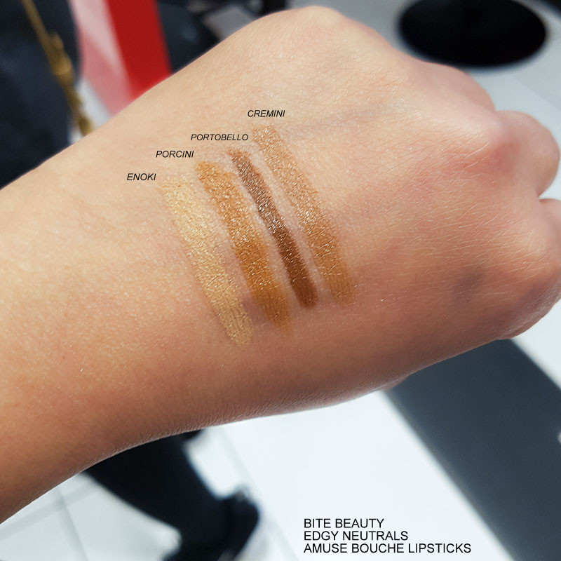 Bite Beauty Edgy Neutrals Amuse Bouche Lipsticks - Swatches  Enoki - Porcini - Portobello - Cremini