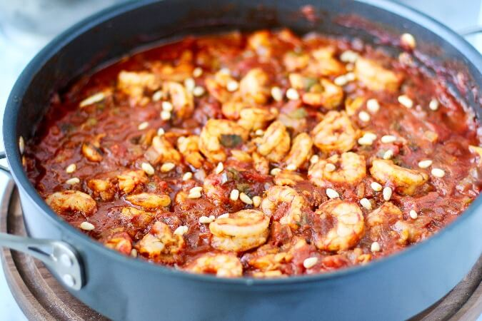 Shrimp in Tomato and Chile Sauce in a shallow pan