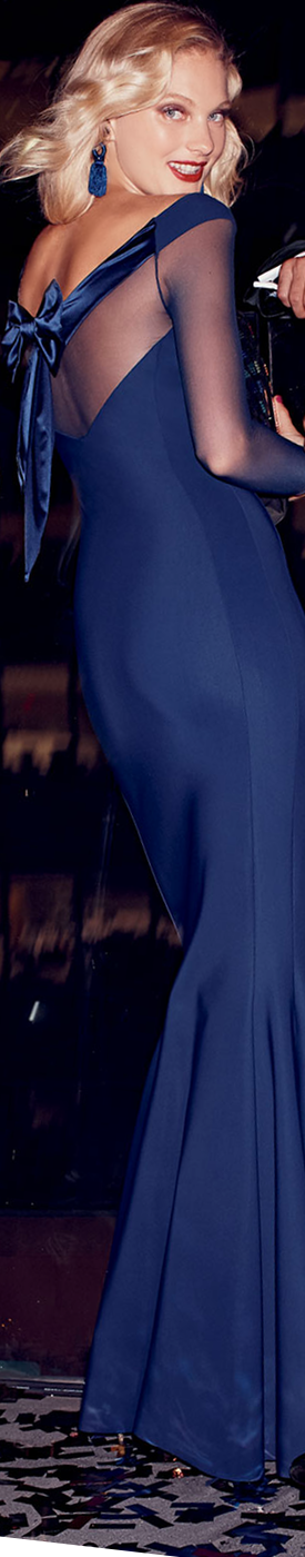 Chiara Boni La Petite Robe Bateau-Neck Illusion Bow-Back Trumpet Evening Gown