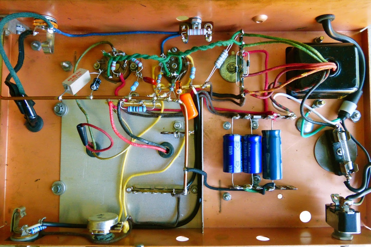 home made guitar amp, project, tube, tubes, 6V6, 12AX7, wiring, chassis