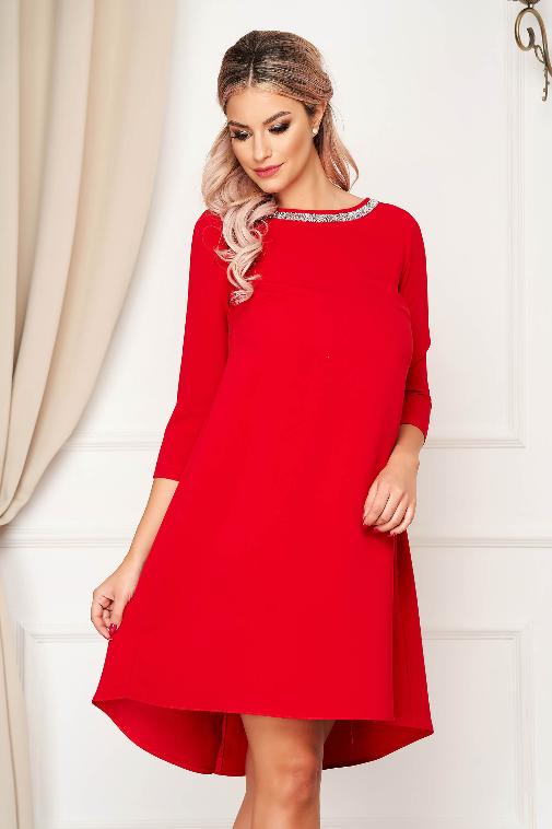 Rochie de ocazii marime mare rosie eleganta scurta din stofa