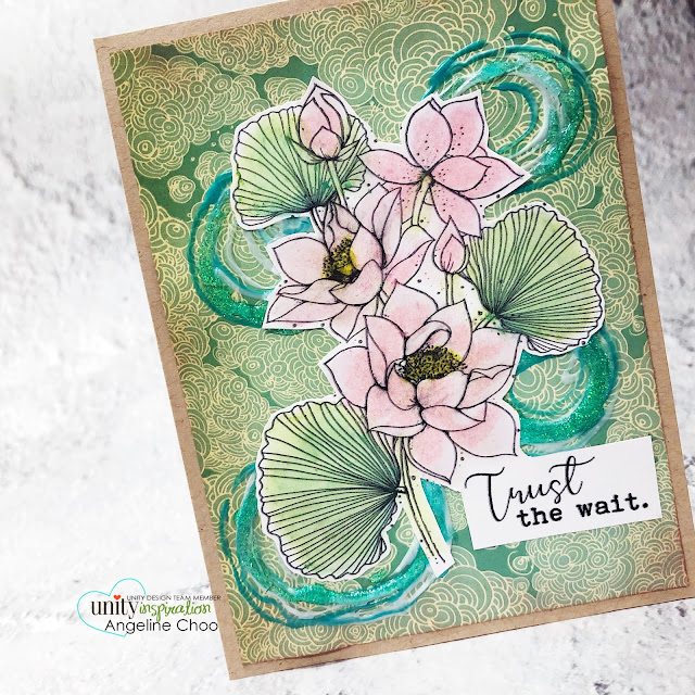 ScrappyScrappy: March Floral Frenzy Unity Stamp release - Like a Lotus #scrappyscrappy #unitystampco #cardmaking #card #papercraft #handmadecard #youtube #quicktipvideo #likealotus #trustthewait #lotusstamp #floralstamp #nuvodrops #nuvoglitterdrop #lotusflower