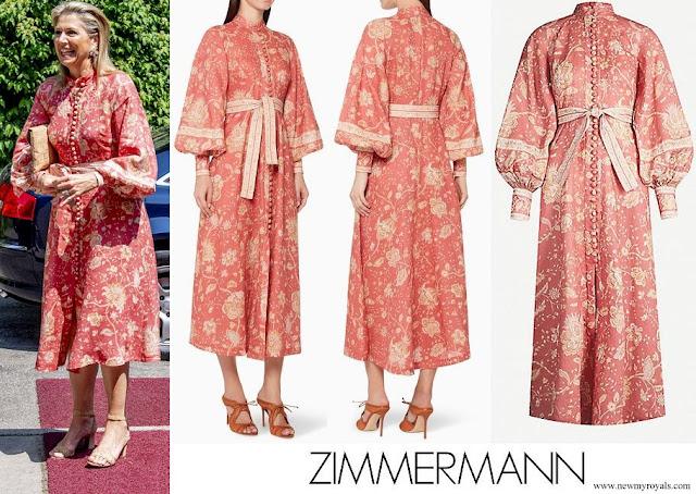 Queen Maxima wore Zimmermann Veneto Border Paisley Print Linen Dress