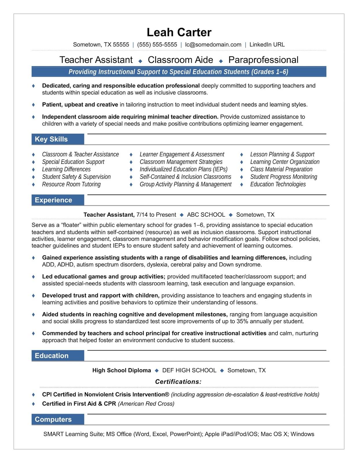 paraeducator resume sample paraeducator resume samples 2019 paraeducator resume examples paraeducator resume objective samples 2020 sample resume for paraeducator
