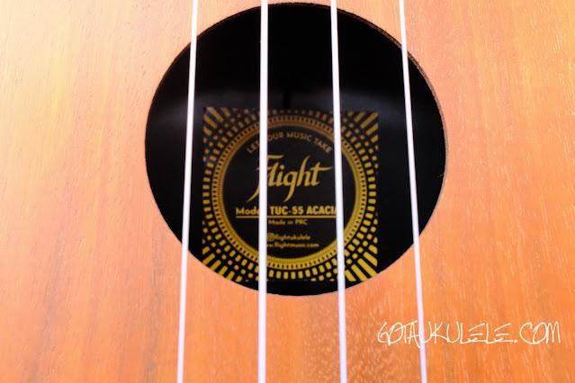 Flight TUC-55 Acacia Travel Concert Ukulele soundhole