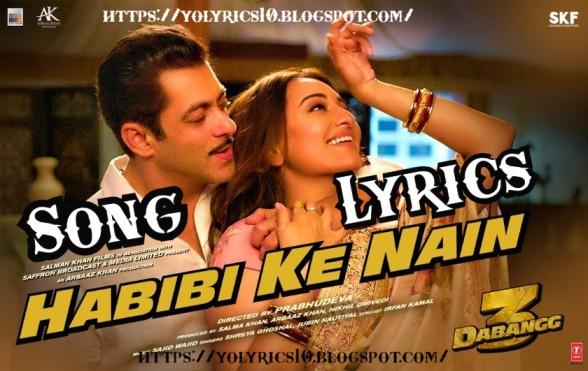 हबीबी के नैन Habibi ke Nain lyrics - DABANGG 3