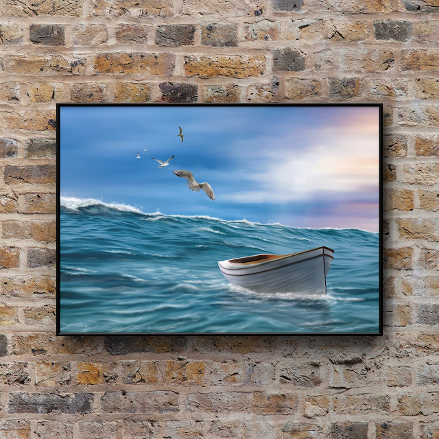 Boat in stormy sea, ocean, art, artwork