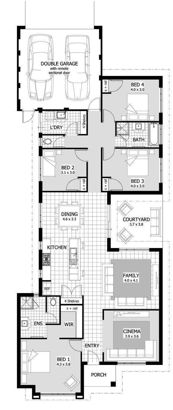 Luxury holiday small villas floor plans with 3 to 4 for Luxury garage plans