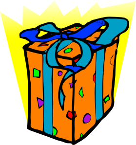 Clipart of orange gift bag with blue ribbons