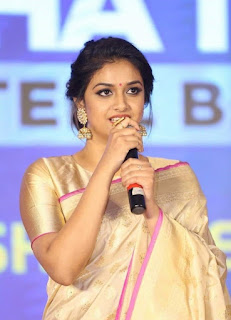Keerthy Suresh in Saree with Cute Smile at Pandem Kodi 2 Trailer Launch 1