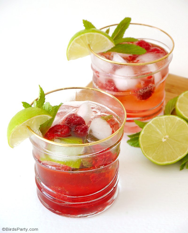 Raspberry Mojito Cocktail Recipe - easy, delicious and pretty cocktail, perfect for Cinco de Mayo or your summer parties and celebrations! by BirdsParty.com @BirdsParty