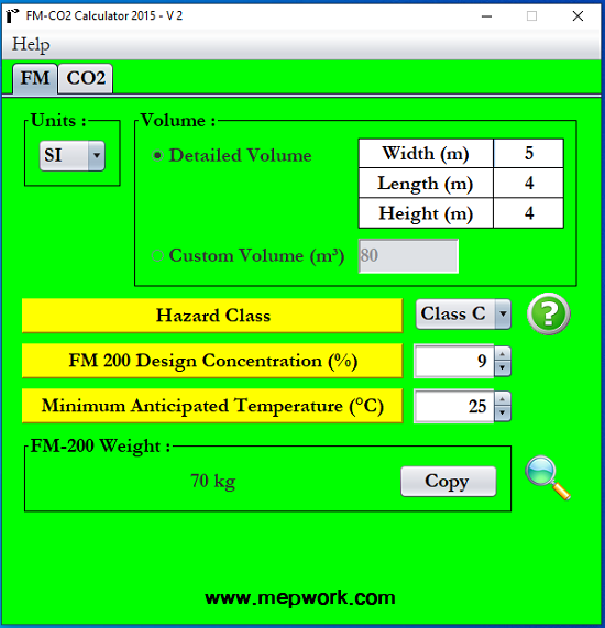 FM200 CO2 Calculator Software - Gas Firefighting