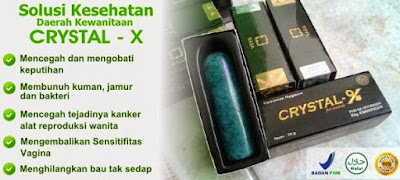 crystal x asli, manfaat crystal x, keputihan, myoma, kista, kanker serviks, wanita