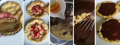 Zubereitung Tartelettes mit Salbei-Chili-Ganache, Himbeere und Salbeiblüten