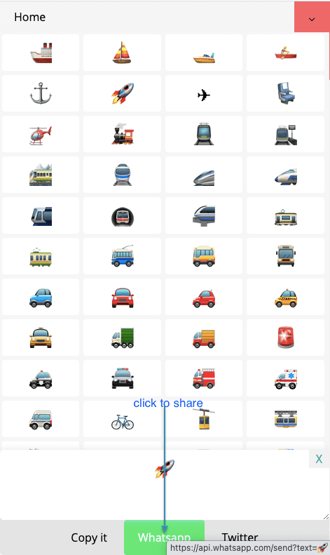 How to Share ⛵ Transport Symbols on Whatsapp?