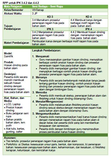 Contoh RPP 1 Halaman