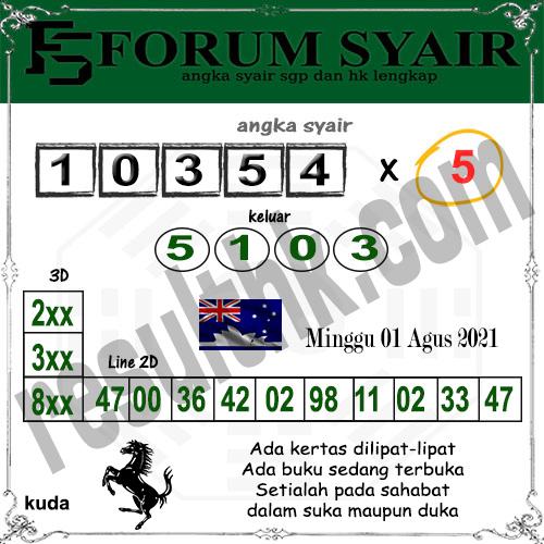 Forum syair Sidney Minggu 01 Agustus 2021
