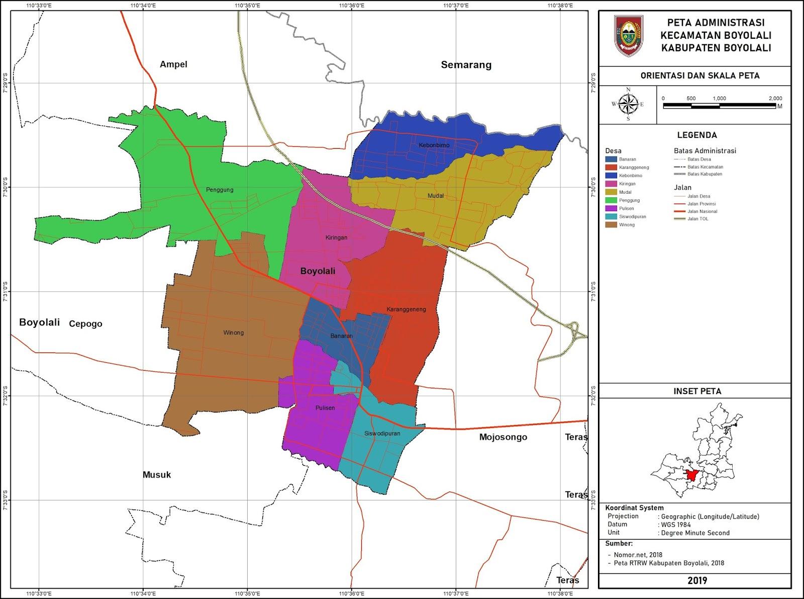 Peta Administrasi Kecamatan Boyolali, Kabupaten Boyolali ...