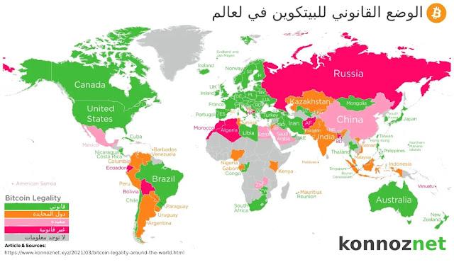 الوضع القانوني للبيتكوين في العالم