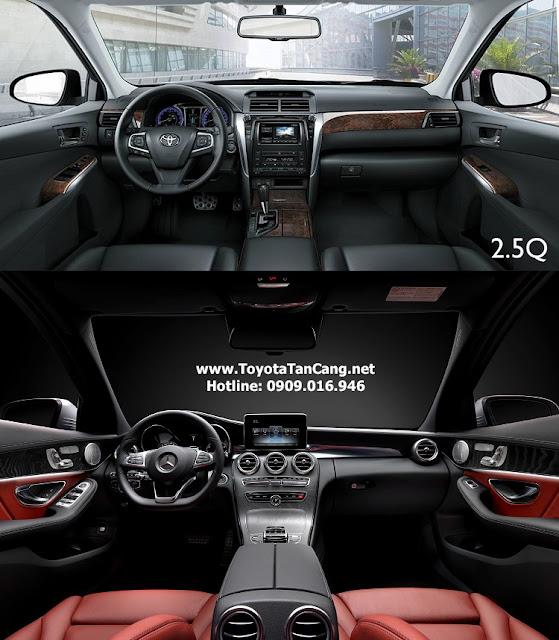 nội thất toyota camry 2.5Q và Mercedes c200