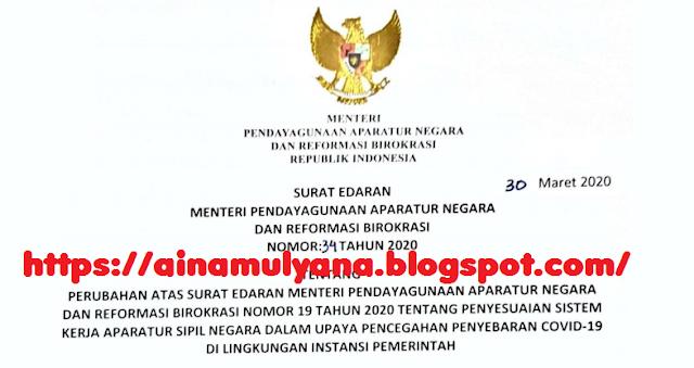 Surat Edaran (SE) Menpan RB Nomor 34 Tahun 2020