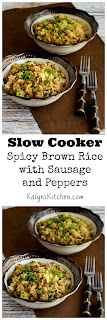 Slow Cooker Spicy Brown Rice with Sausage and Peppers found on KalynsKitchen.com.
