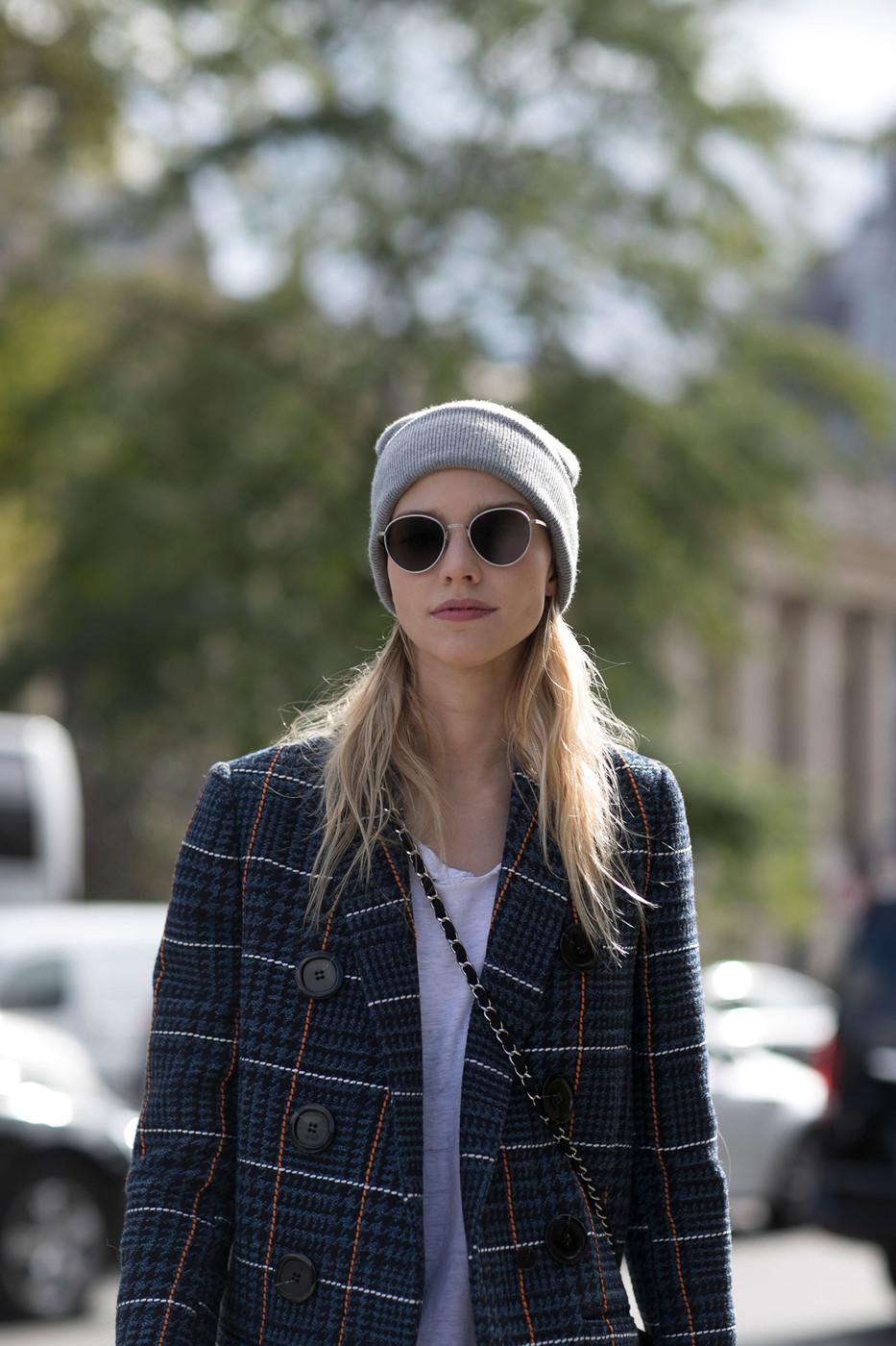 Street Style: Sasha Luss Goes Punk in Tartan