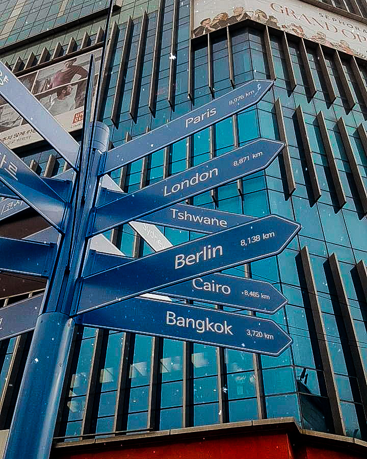 A sign post showing this distances to major cities around the world
