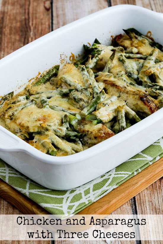 chicken with asparagus and three cheeses is a delicious and