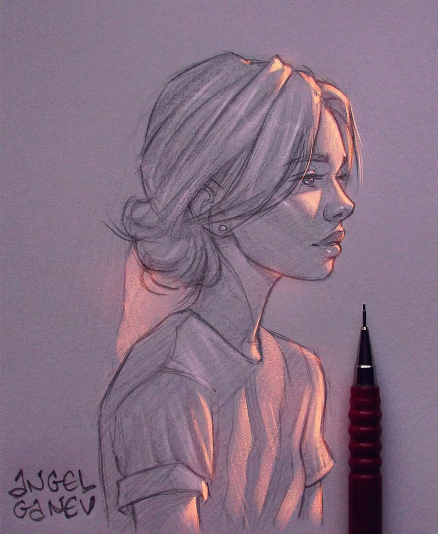 01-Orange-Lighting-Angel-Ganev-Luminous-Pencil-Portraits-that-Glow-www-designstack-co